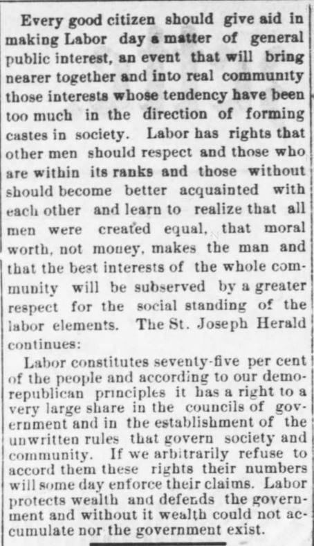 Every Good Citizen. Labor Day. The Kansas City Gazette of Kansas City, Kansas on August 30, 1890