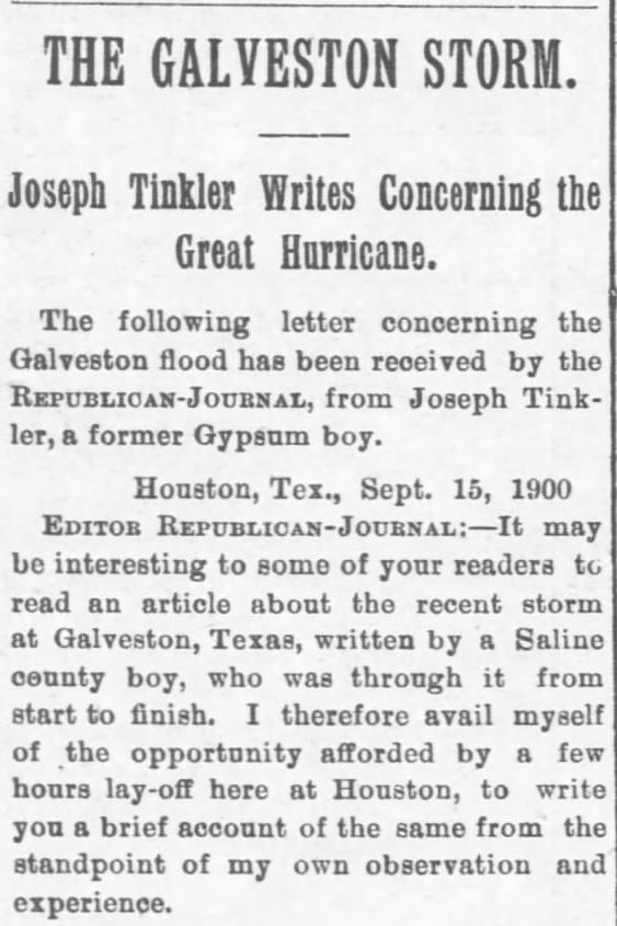 Galveston Storm Part 1. Salina Daily Republican-Journal of Salina, Kansas, September 18, 1900