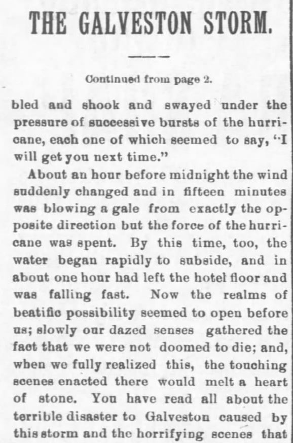 Galveston Storm Part 12. Salina Daily Republican-Journal of Salina, Kansas, September 18, 1900