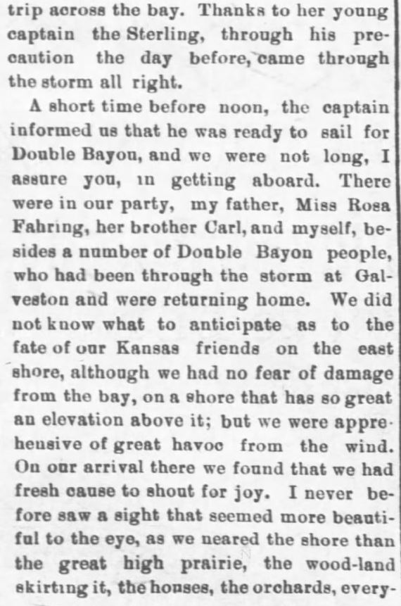 Galveston Storm Part 14. Salina Daily Republican-Journal of Salina, Kansas, September 18, 1900