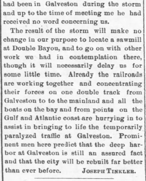 Galveston Storm Part 17. Salina Daily Republican-Journal of Salina, Kansas, September 18, 1900