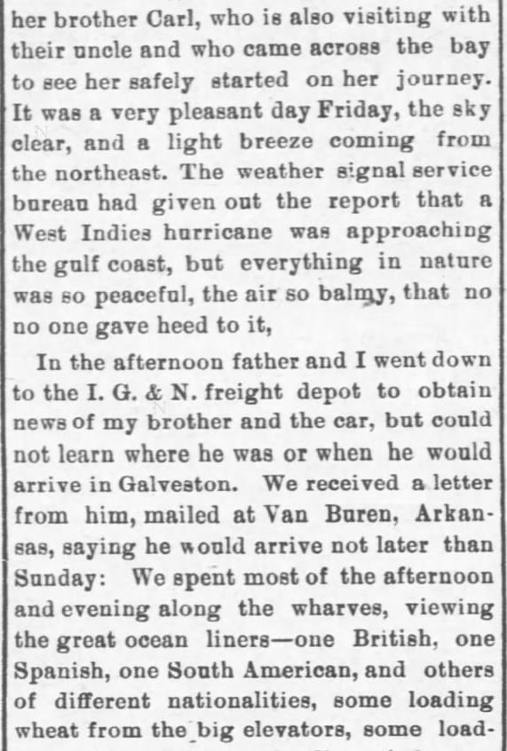 Galveston Storm Part 3. Salina Daily Republican-Journal of Salina, Kansas, September 18, 1900