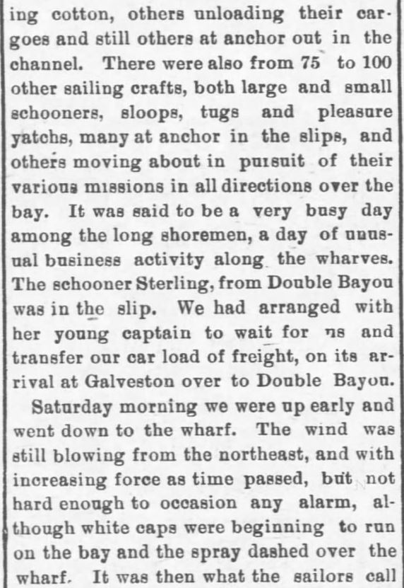 Galveston Storm Part 4. Salina Daily Republican-Journal of Salina, Kansas, September 18, 1900