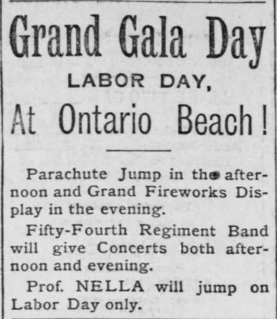 Grand Gala Day. Ontario Beach. Democrat and Chronicle of Rochester, New York on August 30, 1890
