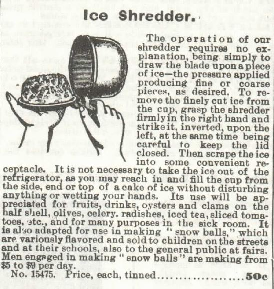 Ice Shredder. Sears 1897