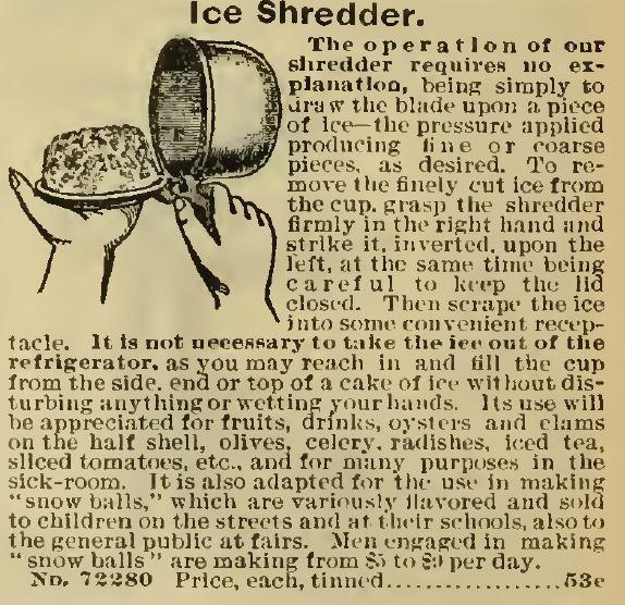 Ice Shredder. Sears 1898 No. 107