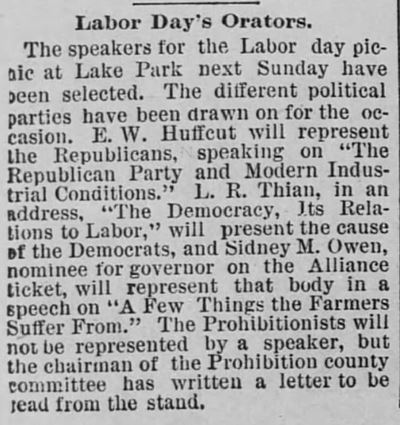 Labor Day Orators. The Saint Paul Globe of Saint Paul, Minnesota, on August 9, 1890.