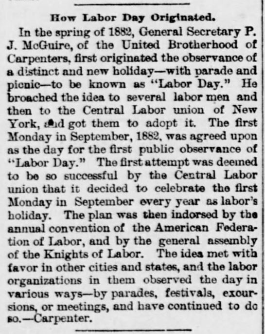 Labor Day Originated. How. The Wichita Daily Eagle of Wichita, Kansas on January 1, 1890