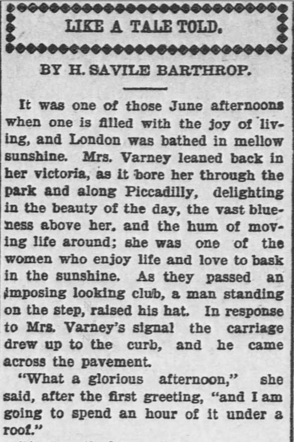 Like a Tale Told, Part 1, published in The Hays Free Press of Hays, Kansas on July 20, 1901.