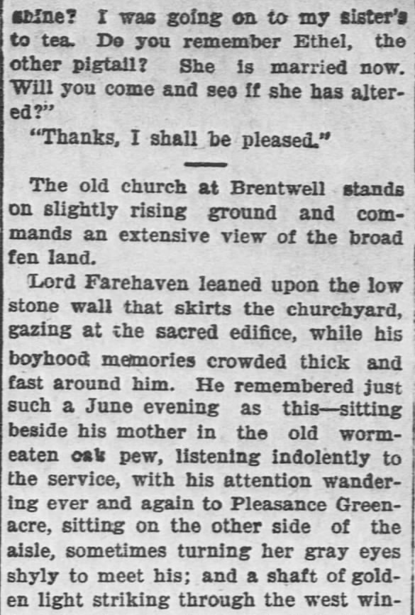 Like a Tale Told, Part 7, published in The Hays Free Press of Hays, Kansas on July 20, 1901.