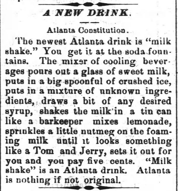Milk Shake a new drink. No ice cream. The Wilmington Morning Star of Wilmington, North Carolina, on May 15, 1886