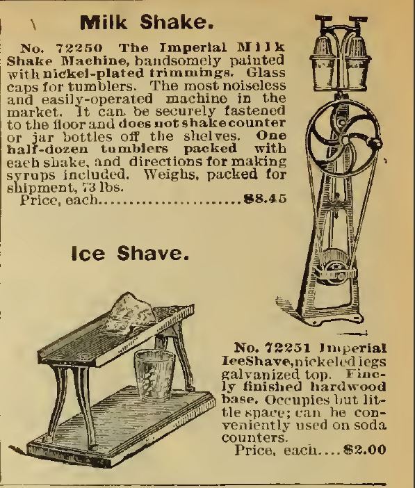 Milk Shaker and Ice Shave. Sears 1898 Catalog no. 107