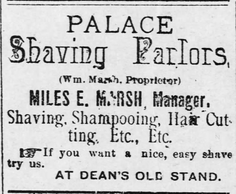 Kristin Holt | Victorian Shaving, part 1: Palace Shaving Parlor advertisement: Shaving, Shampooing, Hair Cutting, Etc. Advert from Osawatomie Graphic of Oswatomie, Kansas on June 3, 1893.