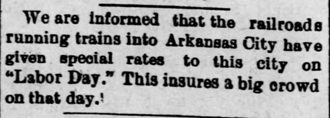 Railway reduced rates on Labor Day. Weekly Republican-Traveler of Arkansas City, Kansas, on August 28, 1890.