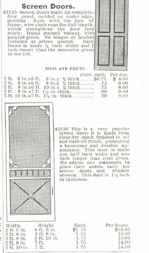 Screen Doors Montgomery Ward Spring & Summer Catalog 1895