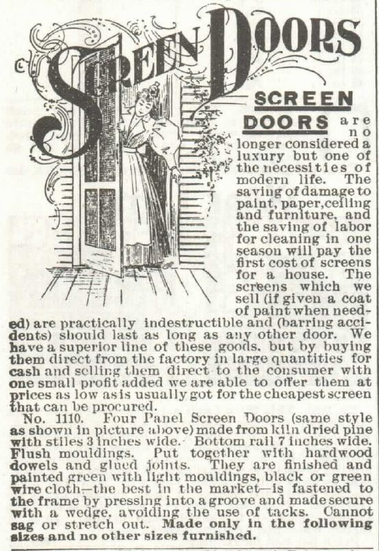 Screen Doors part 1. Sears 1897
