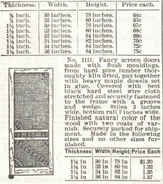 Screen Doors part 2. Sears 1897