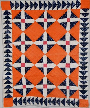 Signature block with Flying Geese Border, Bassinet-size quilt. Circa 1880. For sale by Rocky Mountain Quilts.