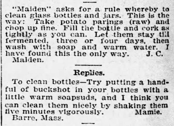 Kristin Holt   Old West Mason Jars. Two interesting methods of washing glass bottles and jars. From The Boston Globe of Boston, Massachusetts, October 26, 1896.