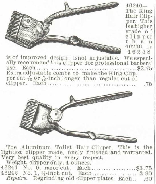 Toilet Hair Clippers. Part 3. 1895 Montgomery Ward Spring and Summer