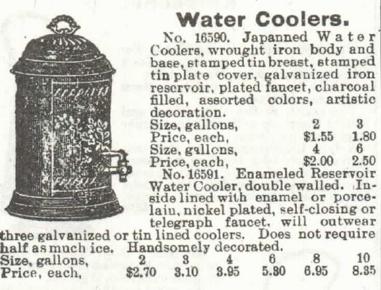 Water cooler. Sears 1897