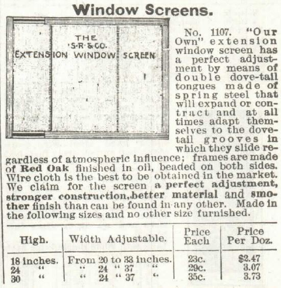Window SCREENS. Sears 1897