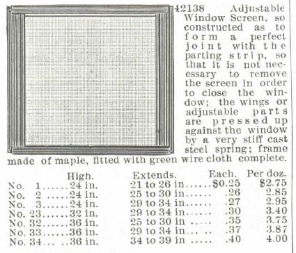 Window Screen Adjustible. Montgomery Ward Spring & Summer 1895