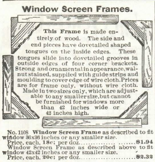 windoow SCREEN frames. sears 1897