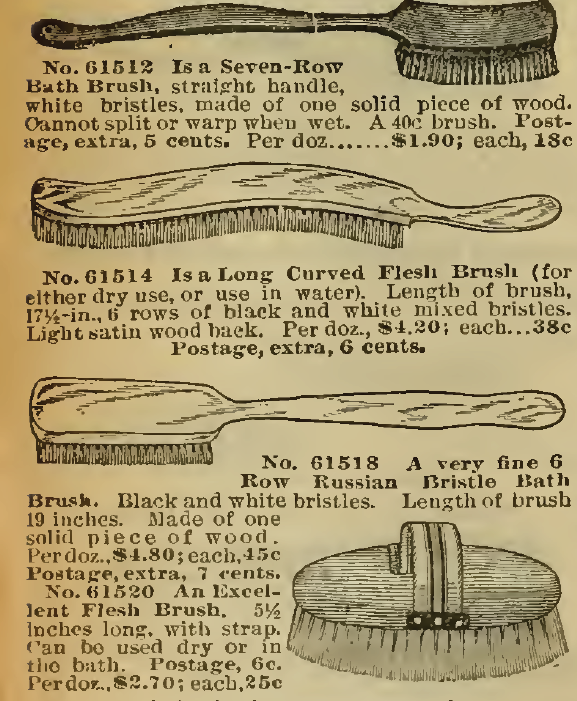 Bath Brushes in the Sears, Roebuck & Co. Catalog, 1898.