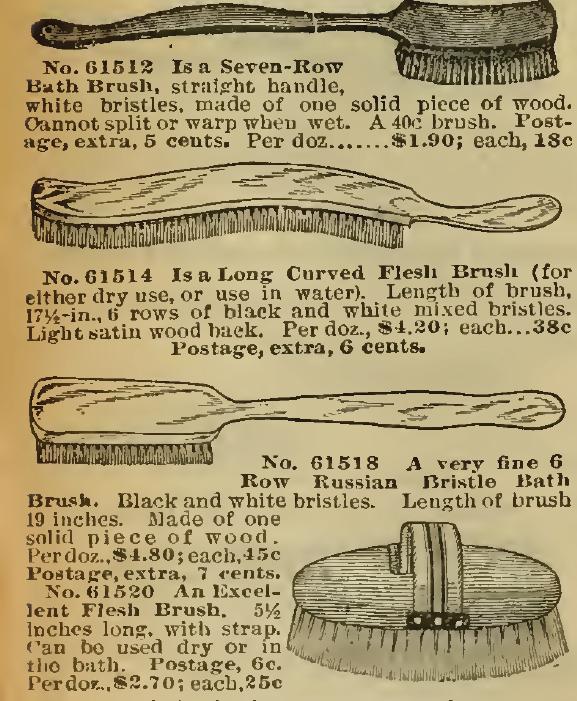 Bath Brushes in the Sears, Roebuck & Co. Catalog, 1898.