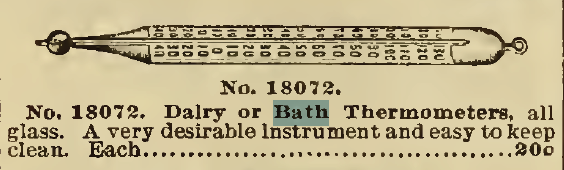 Bath Thermometer, for sale by Sears, Roebuck & Co. Catalog, 1898.