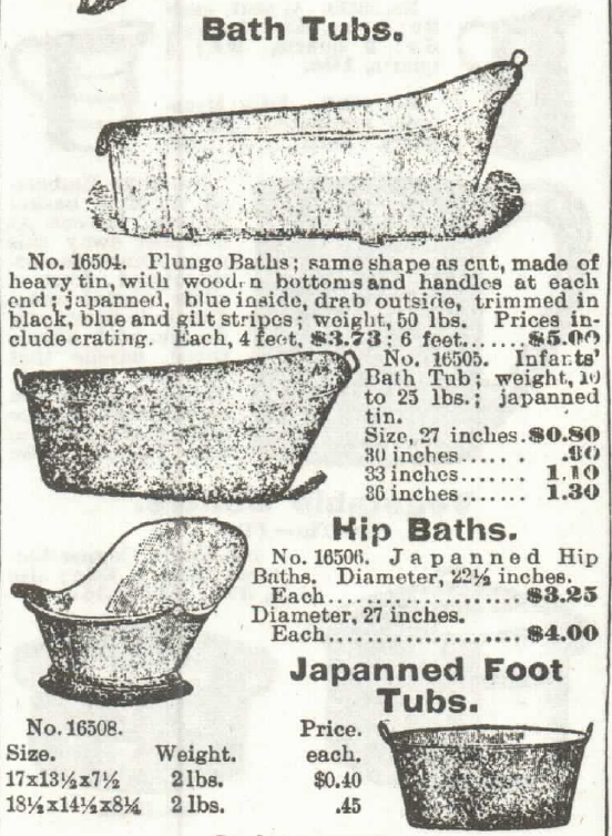 Bath Tubs, including hip baths, for sale in Sears, Roebuck & Co. Catalog in 1897.
