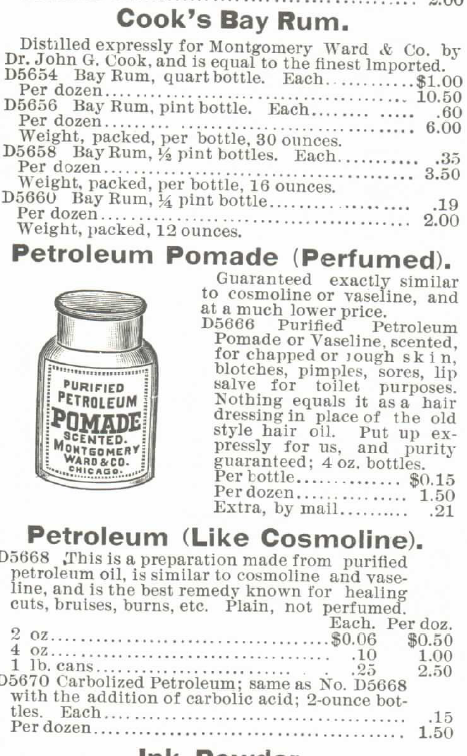 Kristin Holt   Victorian Era Men's Hairstyles. Bay Rum and Petroleum Pomade Perfumed for sale in 1895 Montgomery Ward Spring and Summer Catalogue.