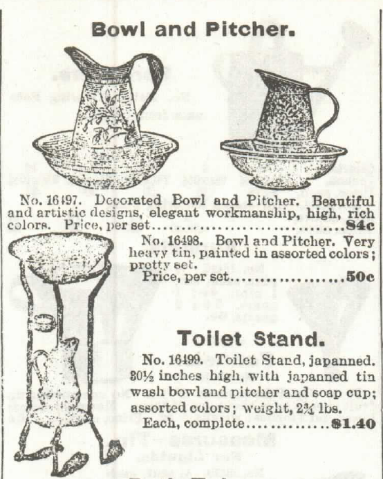 Bowl and Pitcher, Toilet Stand, for sale in the Sears, Roebuck & Co. catalog of 1897.