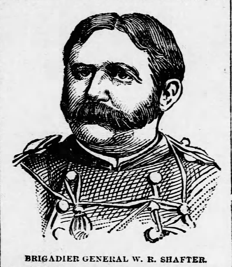 Kristin Holt   Victorian Era Men's Hairstyles. Etching of Brigadier General W.R. Shafter published in Harrisburg Telegraph of Harrisburg, Pennsylvania. April 28, 1897. Etching of Shafter shows middle part in his hair, and a full mustache connecting to sideburns, leaving chin shaved.