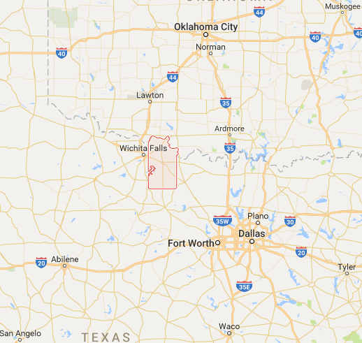 Clay County, Texas is along the very northern border of the state. Image: Google Maps.