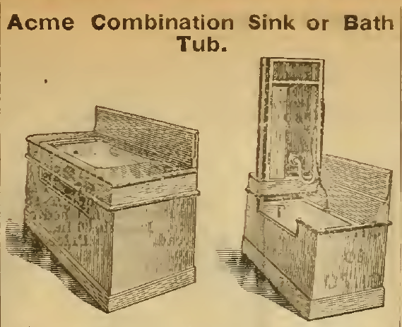 Acme Combination Sink and Bath Tub, Sears Roebuck & Co. 1898.