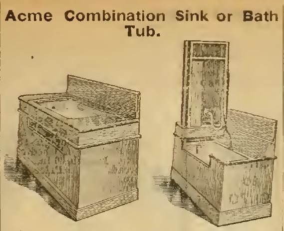 Acme Combination Sink and Bath Tub, Sears Roebuck & Co. 1898.