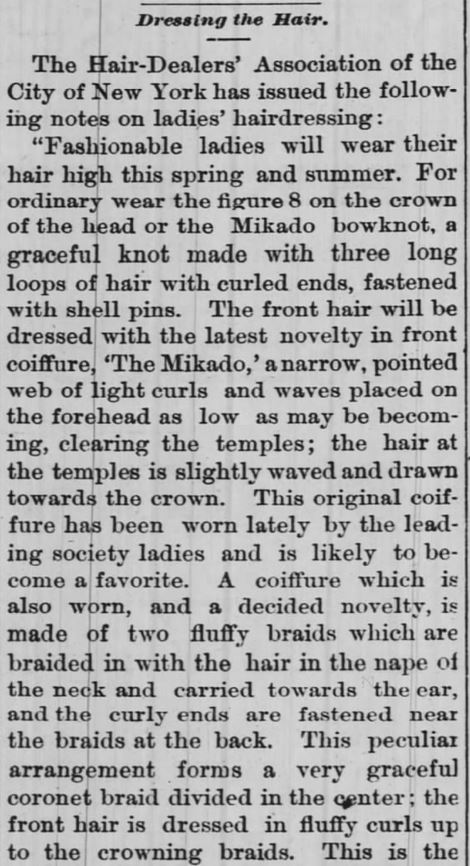 Dressing the Hair, Part 1, The Daily Democrat of Huntington, Indiana, on May 24, 1886.