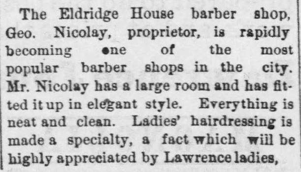 Kristin Holt | Victorian Ladies' Hairdressers. The Eldridge House barber shop makes Ladies' Hairdressing a specialty. Lawrence Daily Journal of Lawrence, Kansas, on June 29, 1888.