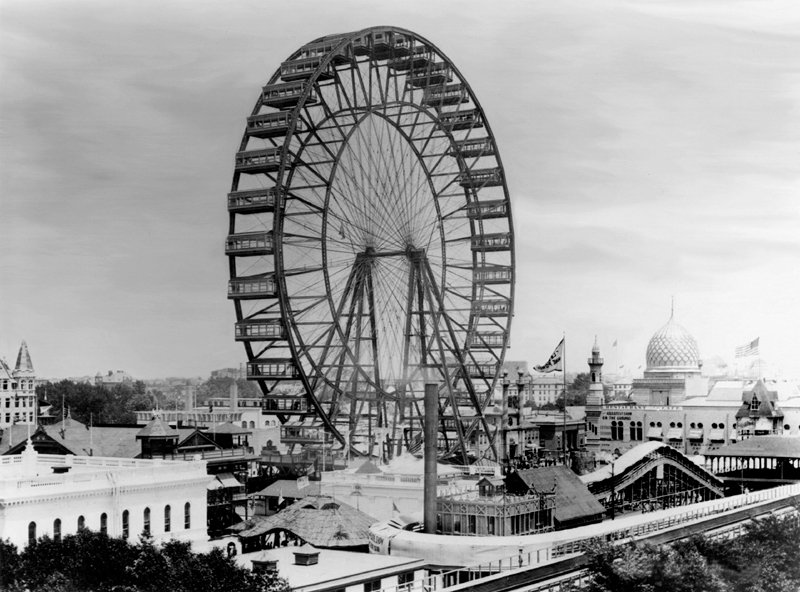 The original Ferris Wheel at the 1893 World Columbian Exposition in Chicago. [Image: Public Domain via Wikipedia]