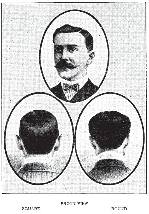 "Men's hairstyles. Note the ""square"" and ""round"" images for the back of the hair at the nape. , from Bridgeford's Revised Barber and Toilet Instructor Manual, 1904."