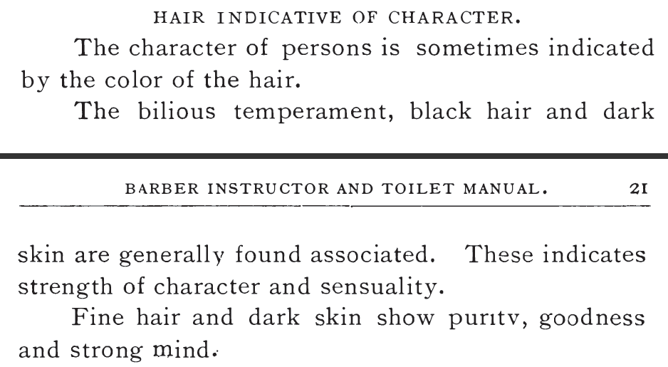 "Kristin Holt | Victorian Kristin Holt | Victorian Hair Indicative of Character. Snippet of the printed section from ""Hair Indicative of Character"", a section within Barber Instructor and Toilet Manual, Revised, 1904 (first printing 1900)."