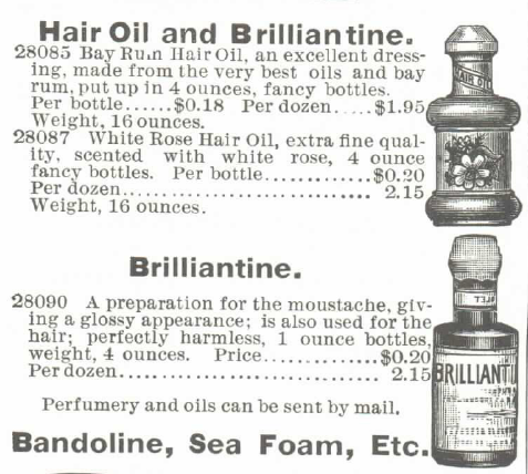 Kristin Holt   Victorian Era Men's Hairstyles. Hair Oil and Brilliantine for sale in 1895 Montgomery Ward Spring and Summer Catalogue