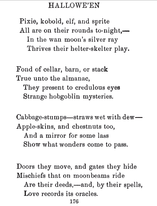 Halloween Poetry, published October 31, 1896 in Harper's Weekly, and republished in The Book of Halloween.