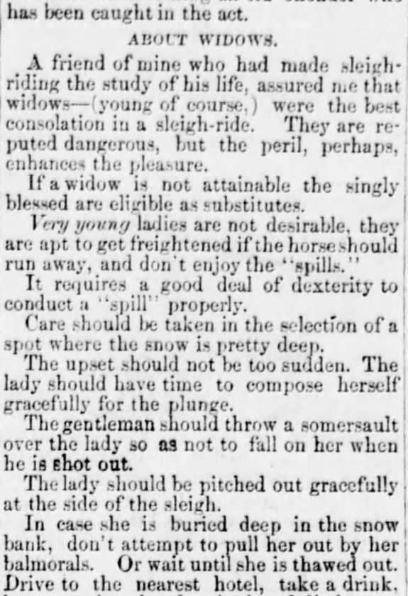 How to Conduct a Sleigh Ride, Part 2 of 3, published in Holmes County Farmer of Millersburg, Ohio, on January 26, 1865.