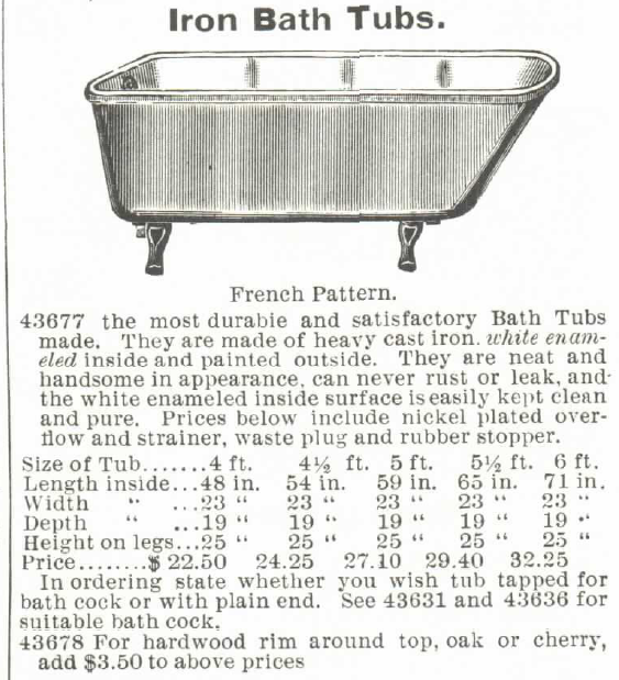 Iron Bath Tubs--with optional hardwood cabinetry of oak or cherry. Montgomery Ward & Co. catalog, 1895.