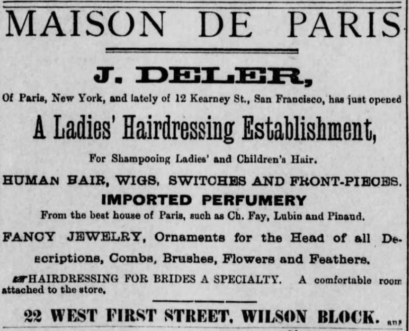 Kristin Holt | Victorian Ladies' Hairdressers. Los Angeles Herald of Los Angeles, California, on November 13, 1886.