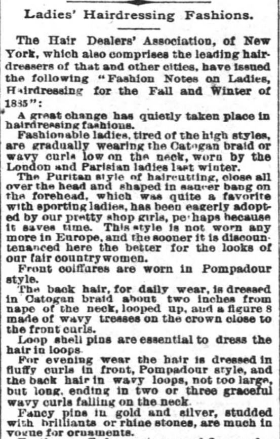 Ladies Hairdressing Fashions, Part 1, published in The Times-Picayune of New Orleans, Louisiana, on November 23, 1885.