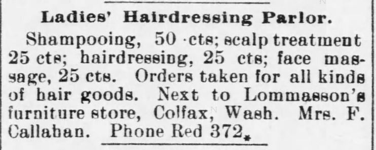 Kristin Holt | Victorian Ladies' Hairdressers. The Colfax Gazette of Colfax, Washington, on December 20, 1901.